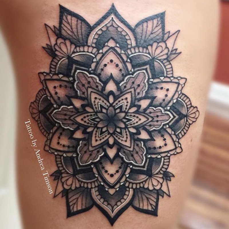 Mandala And Flower Tattoo: Andrea Timson, Tattoo Artist