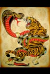 tiger and snake tattoo art
